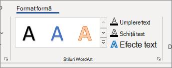 Grupul stiluri WordArt de opțiuni