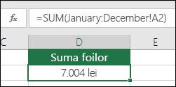 Sumă terță pe toate foile denumite.  Formula din D2 este =SUM(Ianuarie:Decembrie!A2)