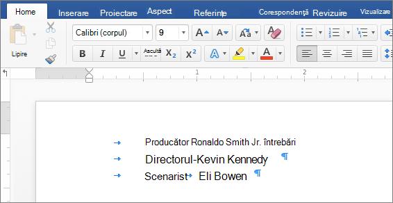 Un exemplu afișează textul după ce sunt eliminați tabulatorii.