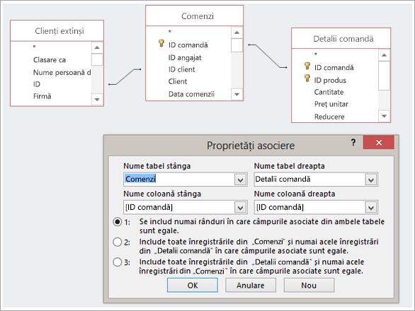 Captură de ecran trei tabele și lor proprietăți asociere