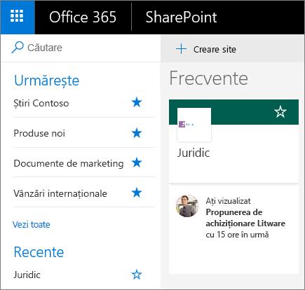 Captură de ecran a paginii de pornire SharePoint, modul Modern.