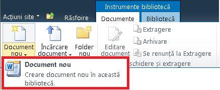 Adăugarea unui document nou într-o bibliotecă de documente