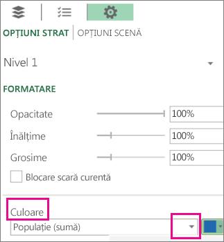 Caseta listă Serie de date pentru lista verticală Culoare