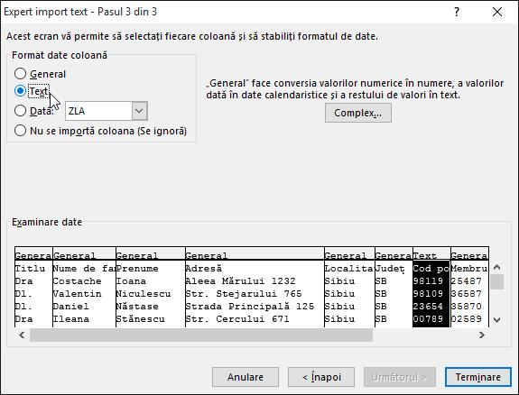 Opțiunea Text pentru formatul de date Coloană este evidențiată în Expertul import text.