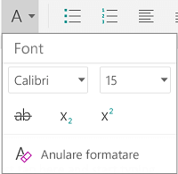 Meniul formatare font