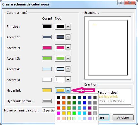 Crearea unei noi scheme de culori Publisher pentru a schimba culorile hyperlinkului