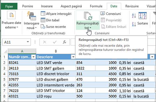 Foaie de calcul Excel cu lista importat și butonul Reîmprospătare totală evidențiat.