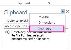 Închiderea Clipboardului în Word