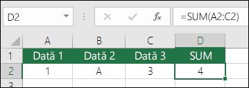 Construirea corespunzătoare a formulei.  În loc de = A2 + B2 + C2, formula din celula D2 este =SUM(A2:C2)