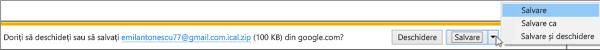 Alegeți o locație pentru a salva calendarul Google exportat.