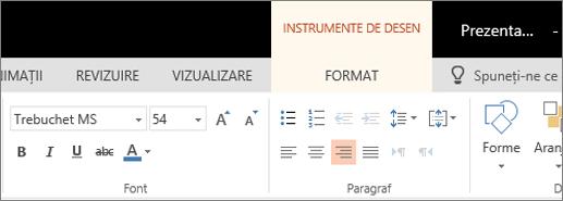 Formatarea textului
