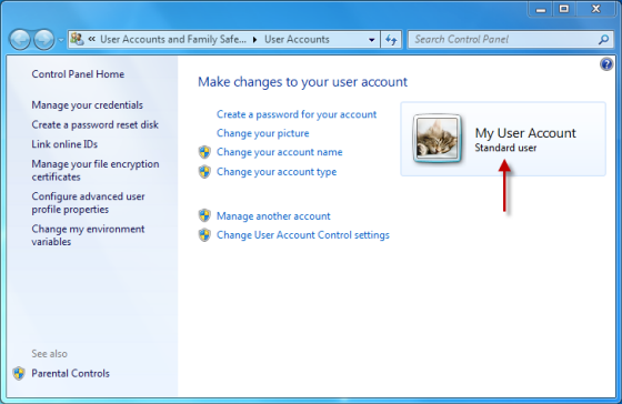 Tipul de cont de utilizator este listată lângă fotografia dumneavoastră de cont de utilizator