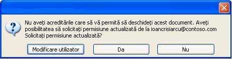 Casetă de dialog în Word care arată că un document cu permisiuni restricționate a fost redirecționat către o persoană neautorizată