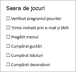 Puteți să creați o listă de verificare care puteți să imprimați sau utilizați online, utilizând butonul Control conținut casetă de selectare din fila dezvoltator, în Word.