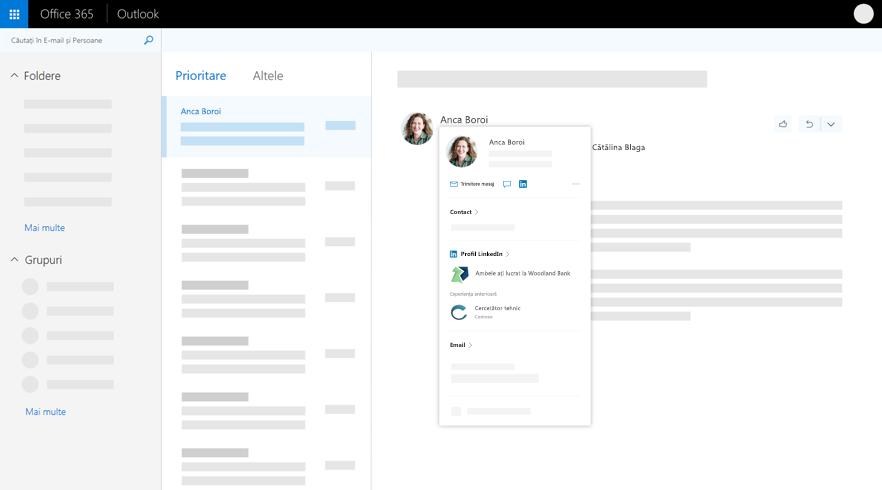 Fișa de profil în Outlook
