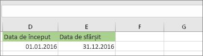 Data de început din celula D53 este 1.01.2016, data de sfârșit se află în celula E53 și este 31.12.2016