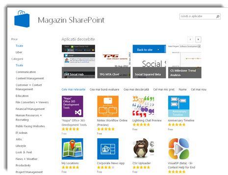 Captură de ecran cu Magazinul SharePoint