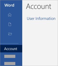 Captură de ecran cu zona Cont într-o aplicație Office