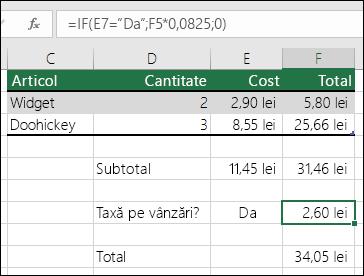 """Formula din celula F7 este IF(E7=""""Da"""";F5*0,0825;0)"""