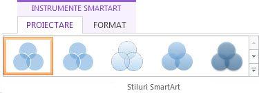Grupul Stiluri SmartArt din fila Proiectare din Instrumente SmartArt