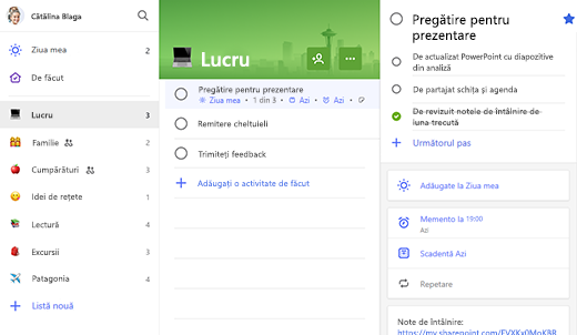 Captură de ecran a listei de lucru cu pregătirea pentru prezentare deschisă în vizualizarea detaliată