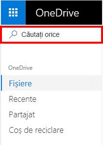 Selectarea Căutați orice în OneDrive