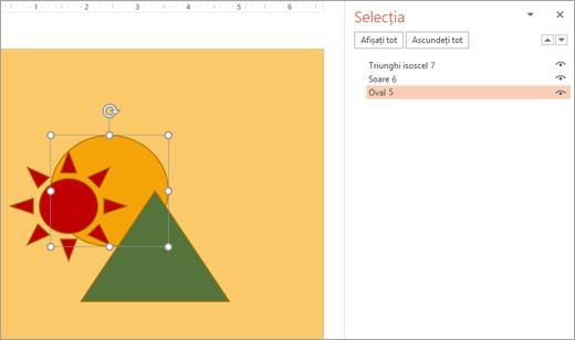 Selectarea unui obiect stratificată utilizând panoul de selecție