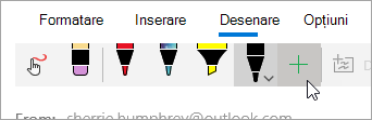 Captură de ecran a butonului Adăugare stilou