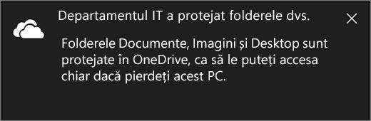 Mesaj de protecție OneDrive