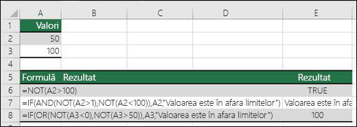 Exemple cu funcția NOT cu funcțiile IF, AND și OR