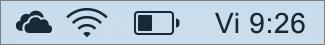 Pictograma OneDrive în bara de sistem Mac