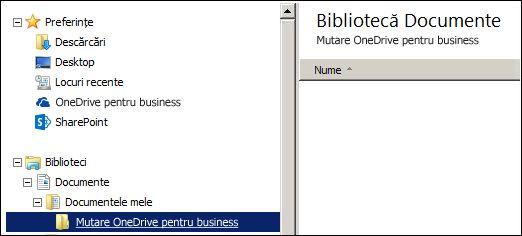 Un folder pentru tranziția fișierelor de mutat în Office 365