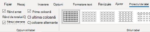 Grupul Stiluri tabel Outlook pentru Windows table design