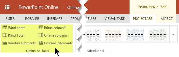 Puteți adăuga stiluri de umbrire la anumite rânduri sau coloane dintr-un tabel.