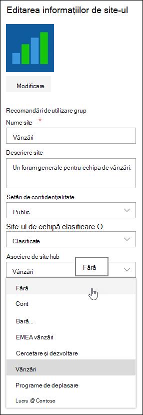 Disocieze un site de pe un site hub SharePoint