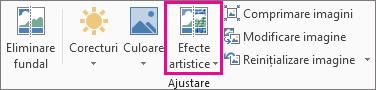 Efecte artistice, în grupul ajustare, pe fila Instrumente imagine