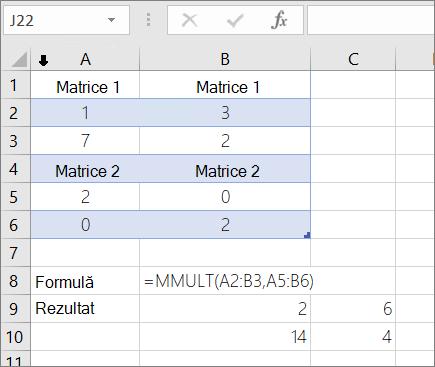 Funcția MMULT-exemplul 1
