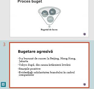 Evidențierea revizuirii în panoul de miniaturi din PowerPoint