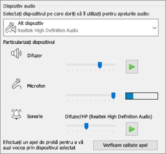 Setările particularizate - difuzor, microfon, sonerie - pentru dispozitivul audio