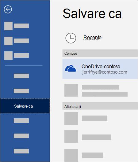 Salvarea unui fișier din Word în OneDrive pentru business