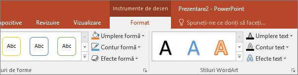 Afișează fila Instrumente de desen pe panglica din PowerPoint