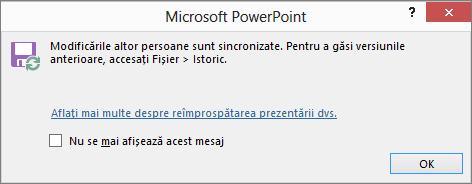 Afișează mesajul Modificări sincronizate în PowerPoint