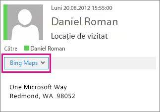 Mesaj Outlook afișând aplicația Hărți Bing