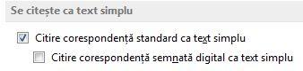 Citire corespondență standard în caseta de selectare text simplu