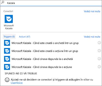 Captură de ecran: Tastați Kaizala, apoi selectați Microsoft Kaizala-atunci când cineva răspunde la o anchetă