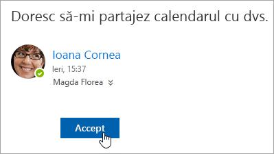 Captură de ecran a butonului Accept dintr-o notificare de e-mail în Calendar partajat.