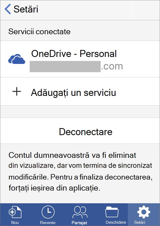 Afișează opțiunea de deconectare în Office pentru iOS