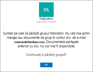 Mesajul de confirmare despre ieșiți din grupul