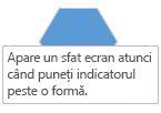 Un Visio ScreenTip apare atunci când poziționați indicatorul mouse-ului peste o formă.