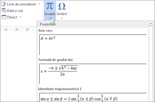 Inserare ecuație